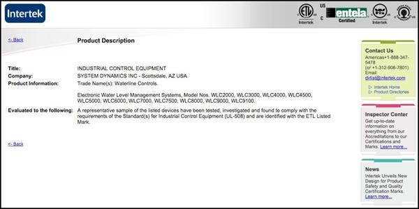 Waterline Controls™ ETL Listing
